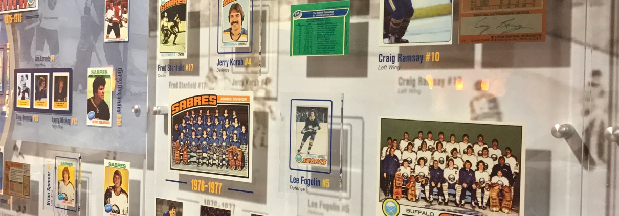Buffalo Sabres Alumni Room custom exhibit design featuring player cards and photos
