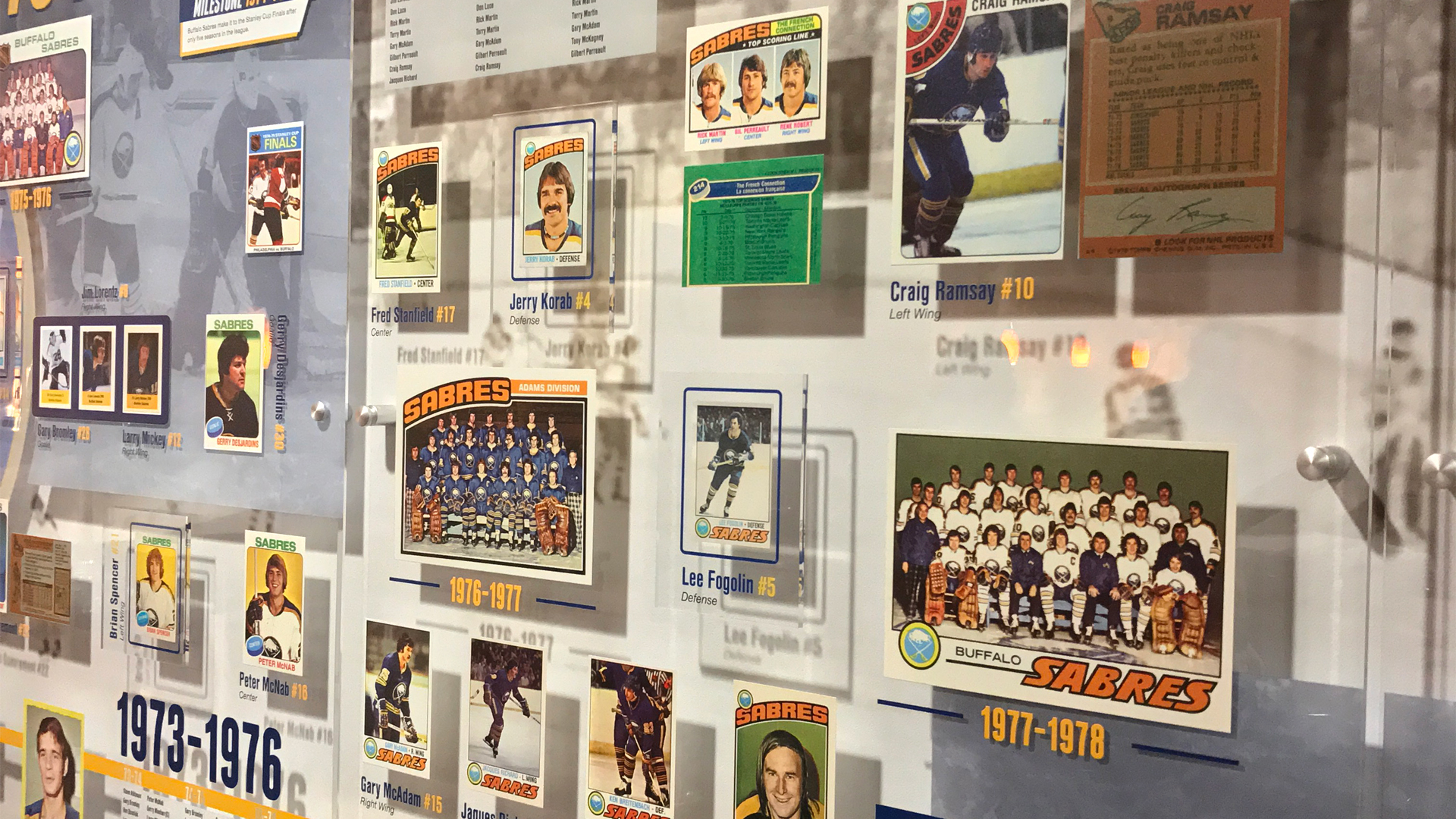 Buffalo Sabres Alumni Room exhibit design featuring player cards and photos