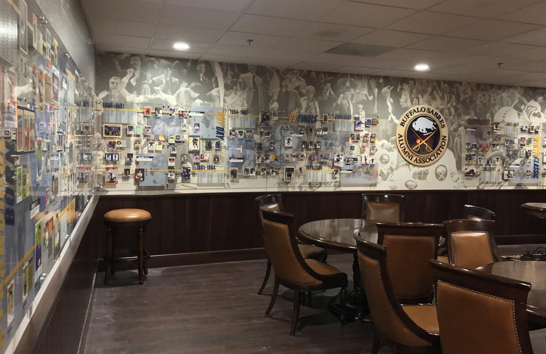 Buffalo Sabres alumni, exhibit design, interior design, informational graphics, history, hockey graphics, hockey cards