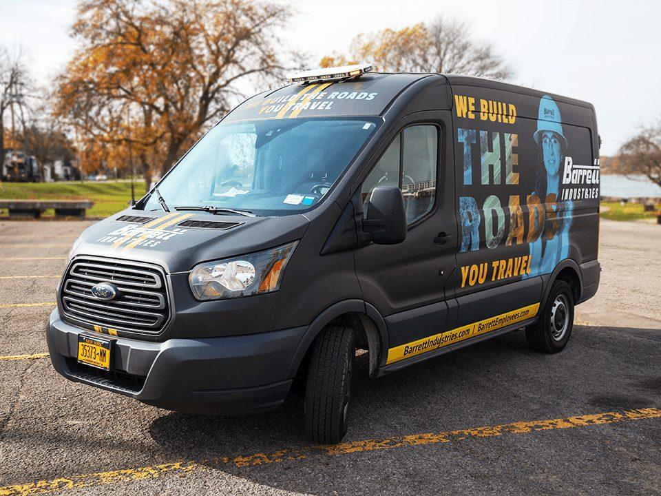 Barrett Van Wrap, Van wrap design, We build the roads you travel, van graphics