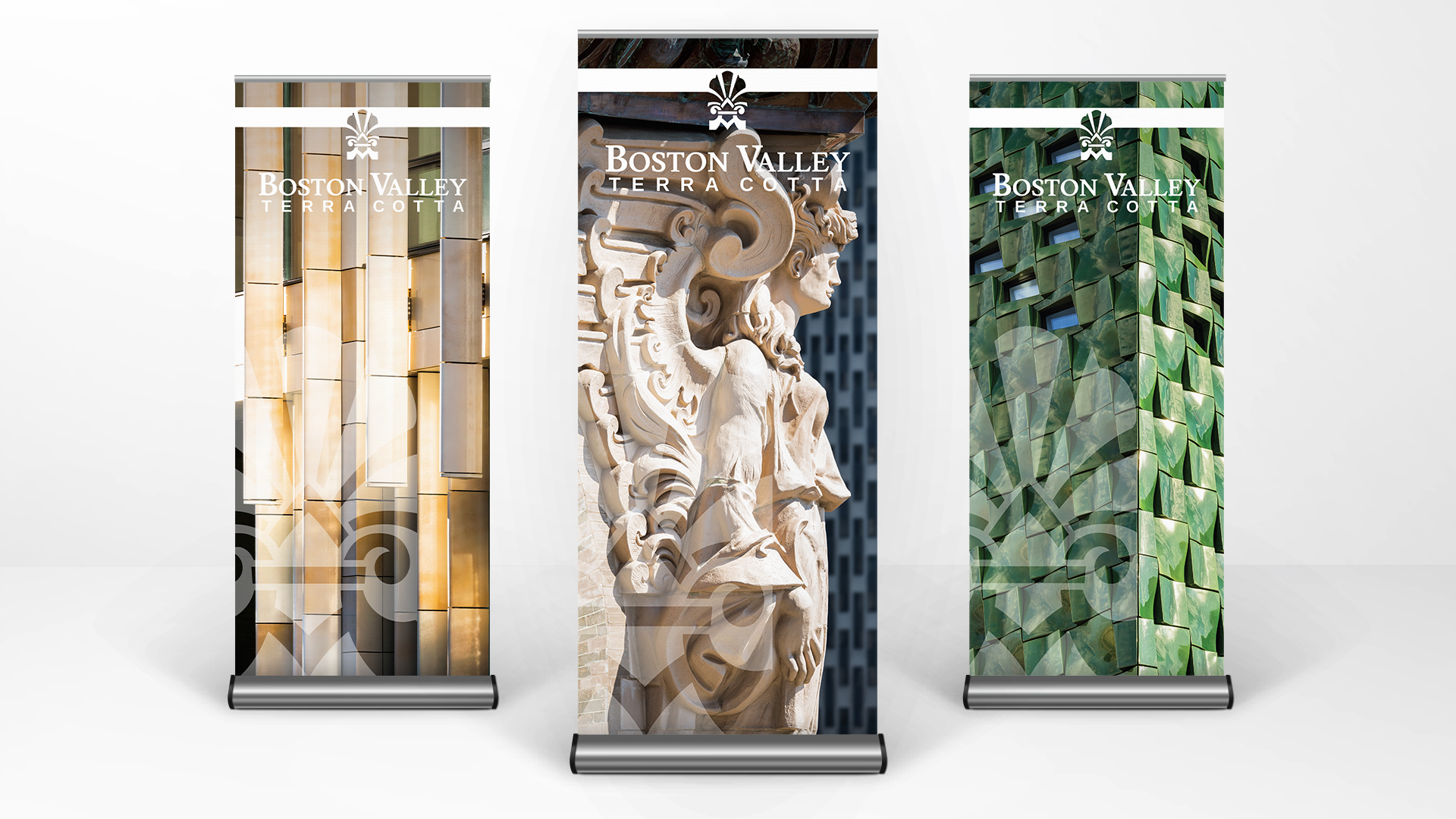Promotional trade show banner design for an architectural terra cotta manufacturer