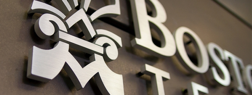 Logo wall installation in architectural manufacturers office