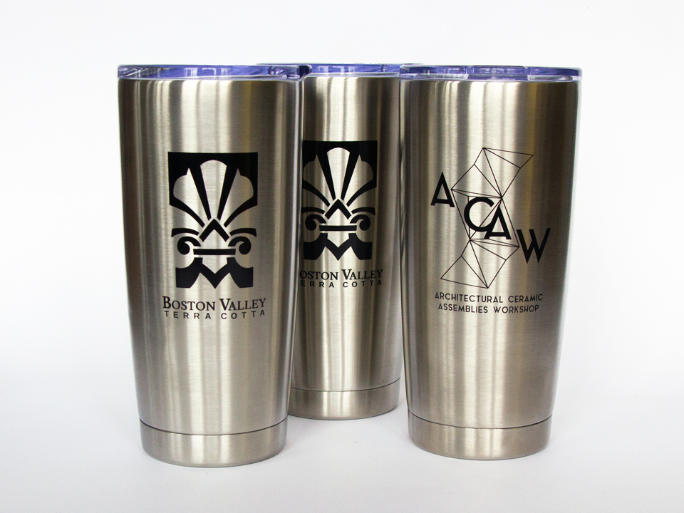 Promotional tumblers for an architectural workshop event