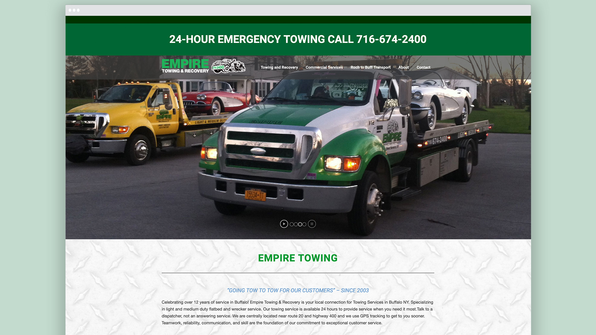 Empire Towing, Web Design, Custom websites, branding, visual identity, Mobile friendly