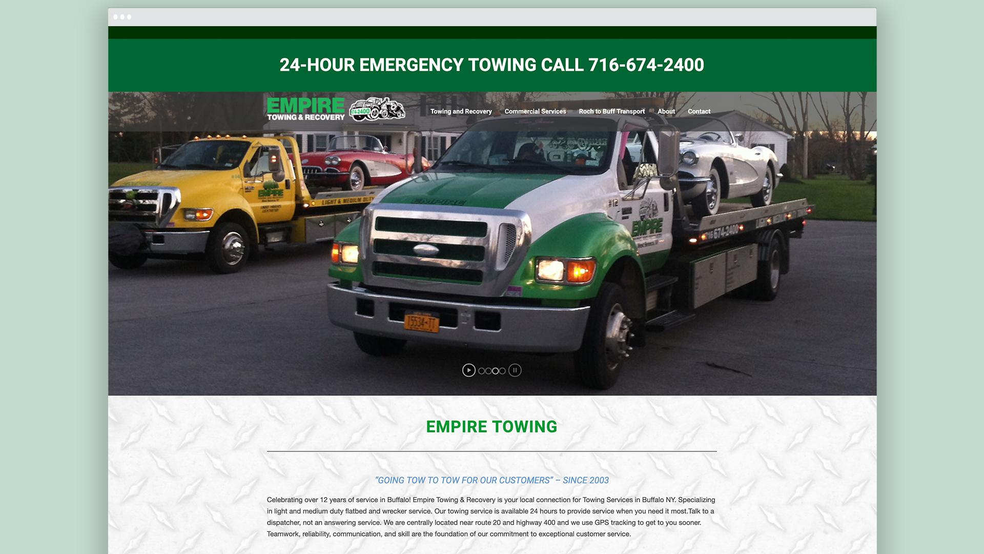 Empire Towing, Web Design, Custom websites, branding, visual identity, Mobile friendly