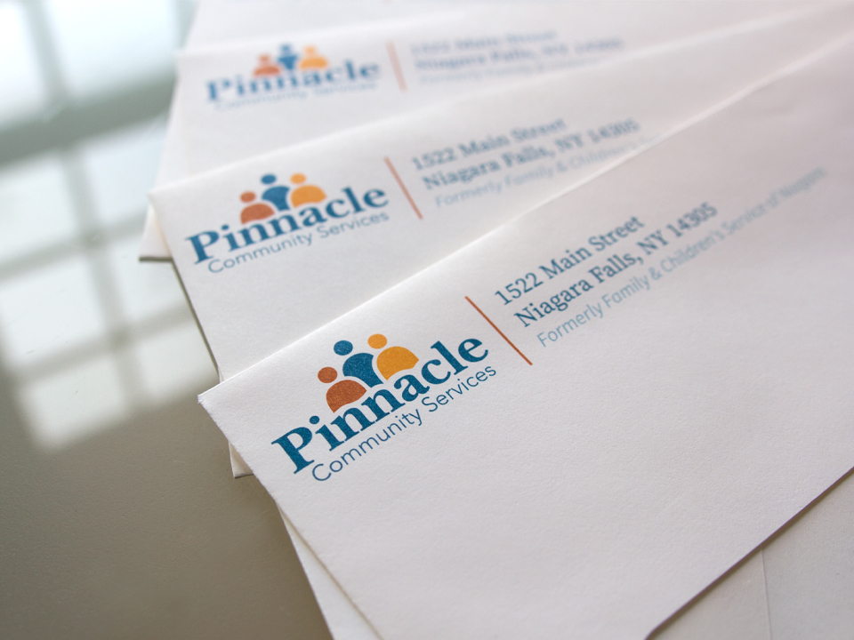 Branded envelopes for a community services organization