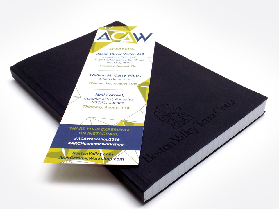 Branded insert for architectural event, event marketing, promotional materials, book design