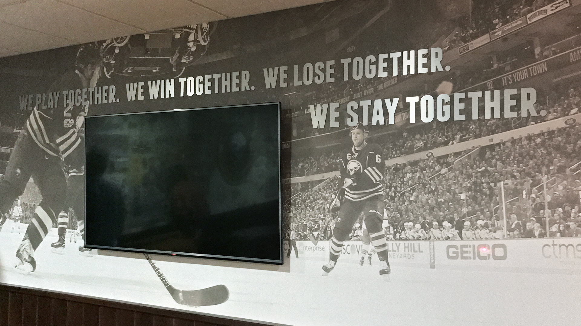 Exhibition design for the Buffalo Sabres Alumni room including wall graphics