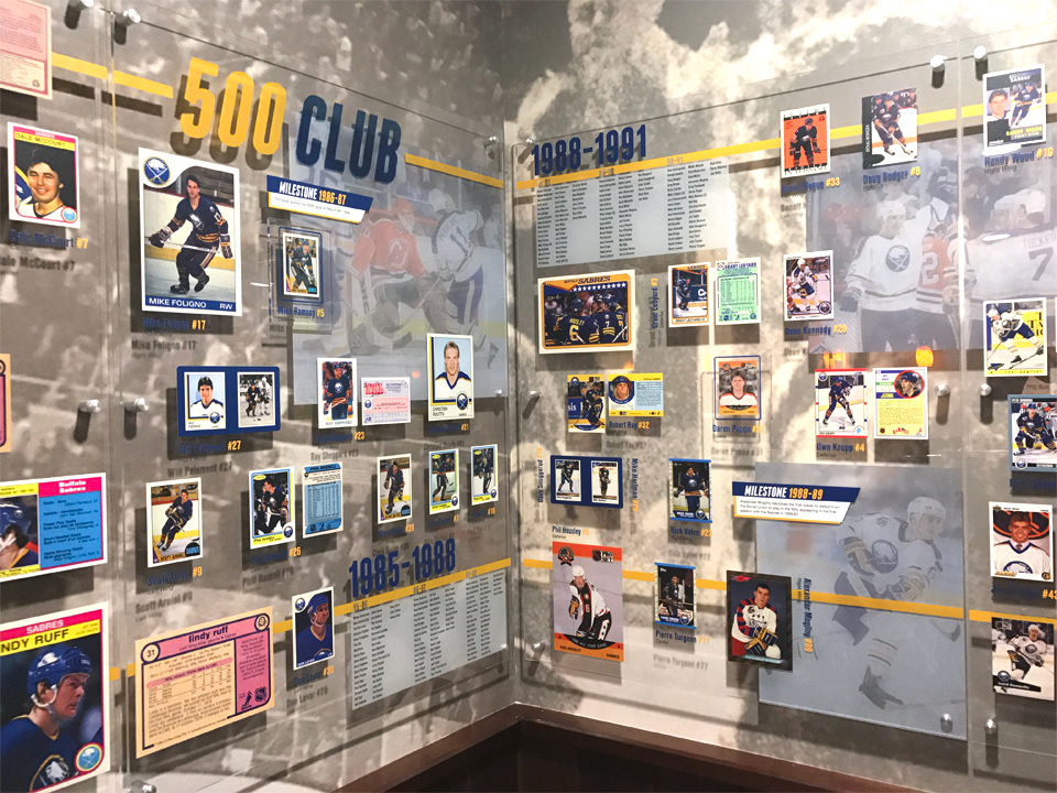 Exhibition Design, interior design, Alumni Room, Buffalo Sabres, Hockey Cards