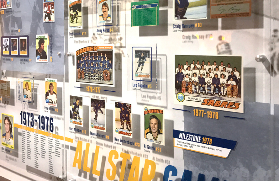 Custom Exhibit Design, interior design, Alumni Room, Buffalo Sabres, Hockey Cards