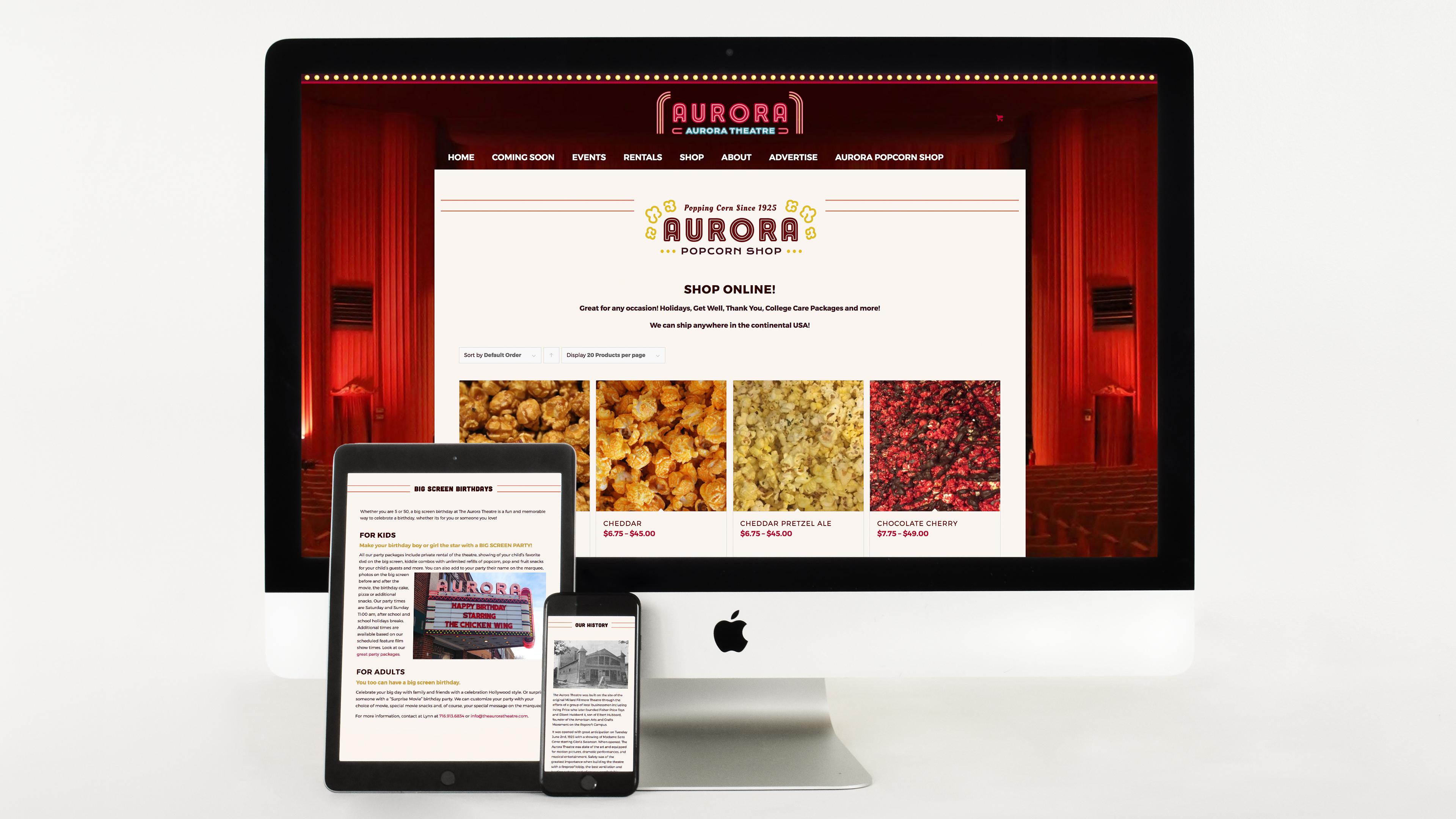 Movie Theatre, Website design, mobile website, branding, marketing