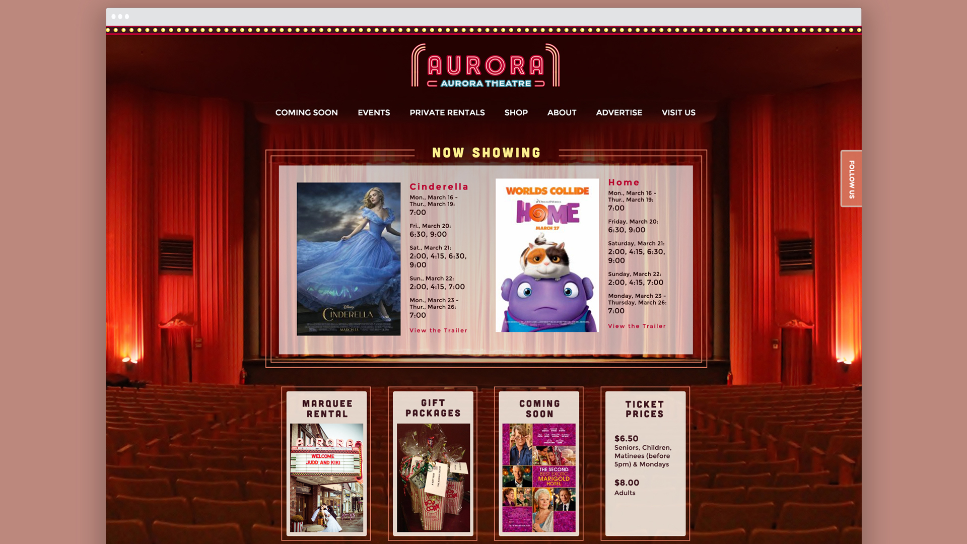 Web design for a movie theatre in East Aurora NY