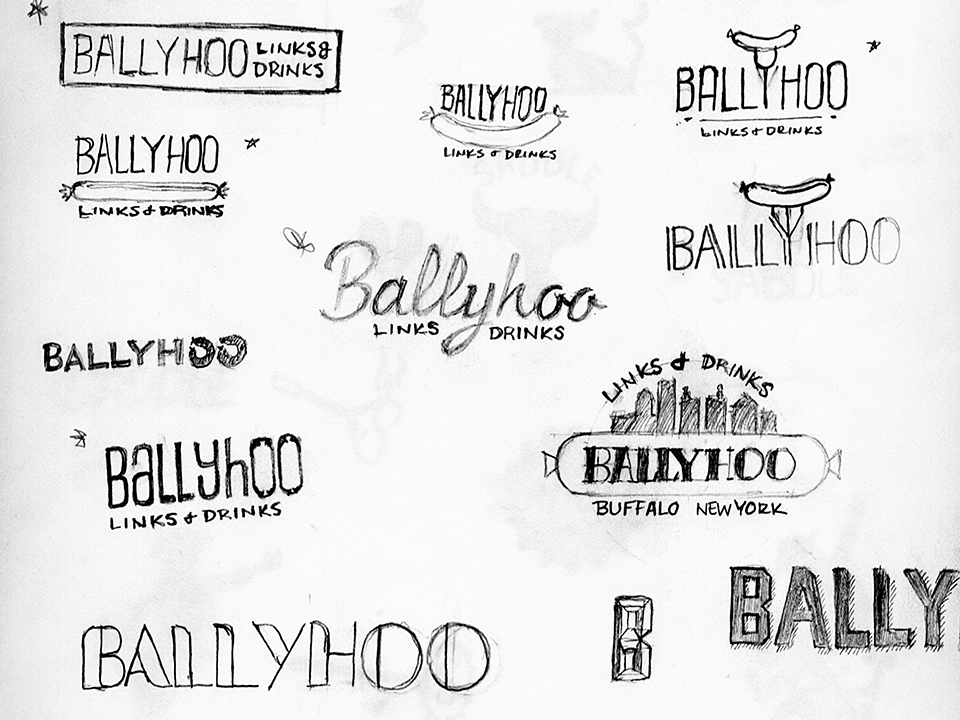Logo Design, Sketches, fonts, Ballyhoo, links & drinks, branding