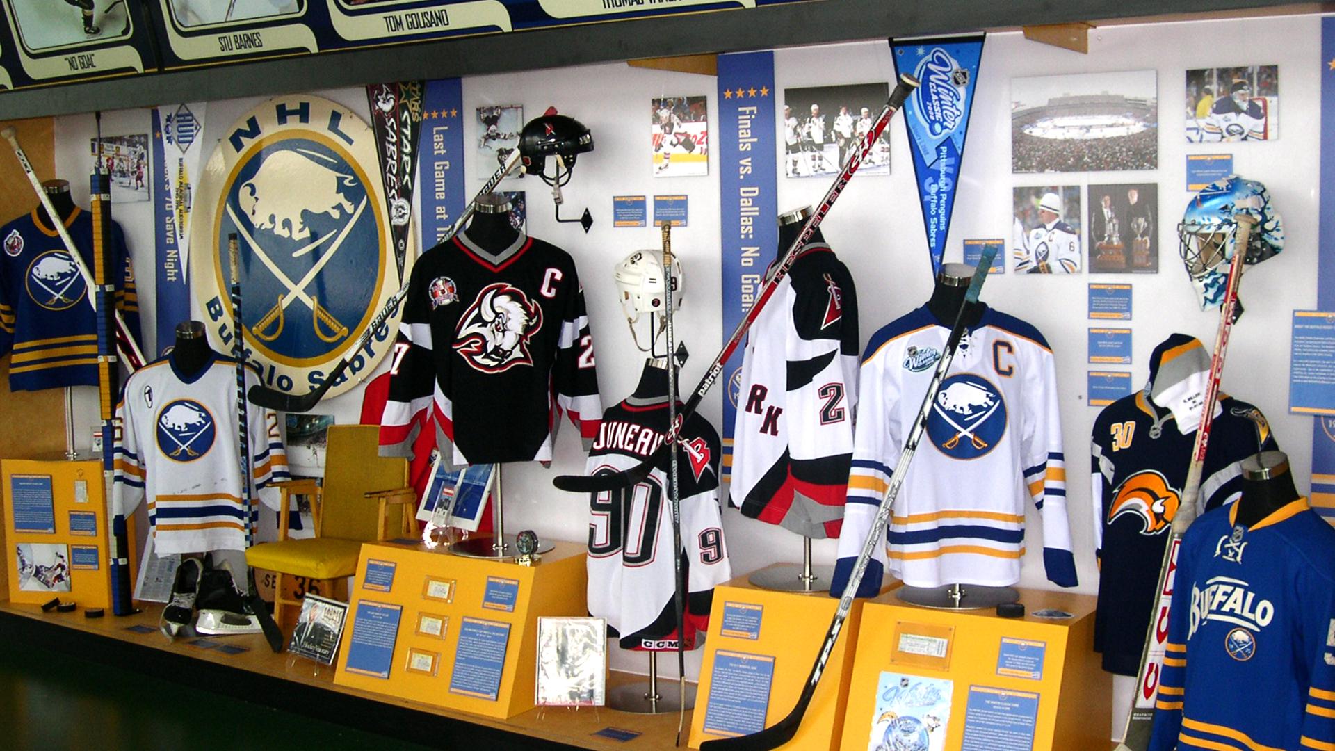 Exhibit design for Buffalo Sabres 40th Anniversary including hockey memorabilia