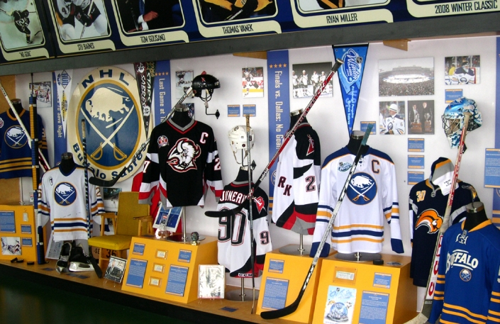 Exhibit design for Buffalo Sabres 40th Anniversary including hockey memorabilia