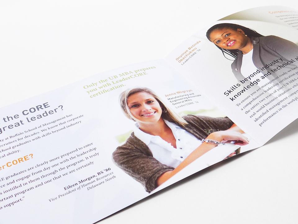 Promotional brochure design for a university business program