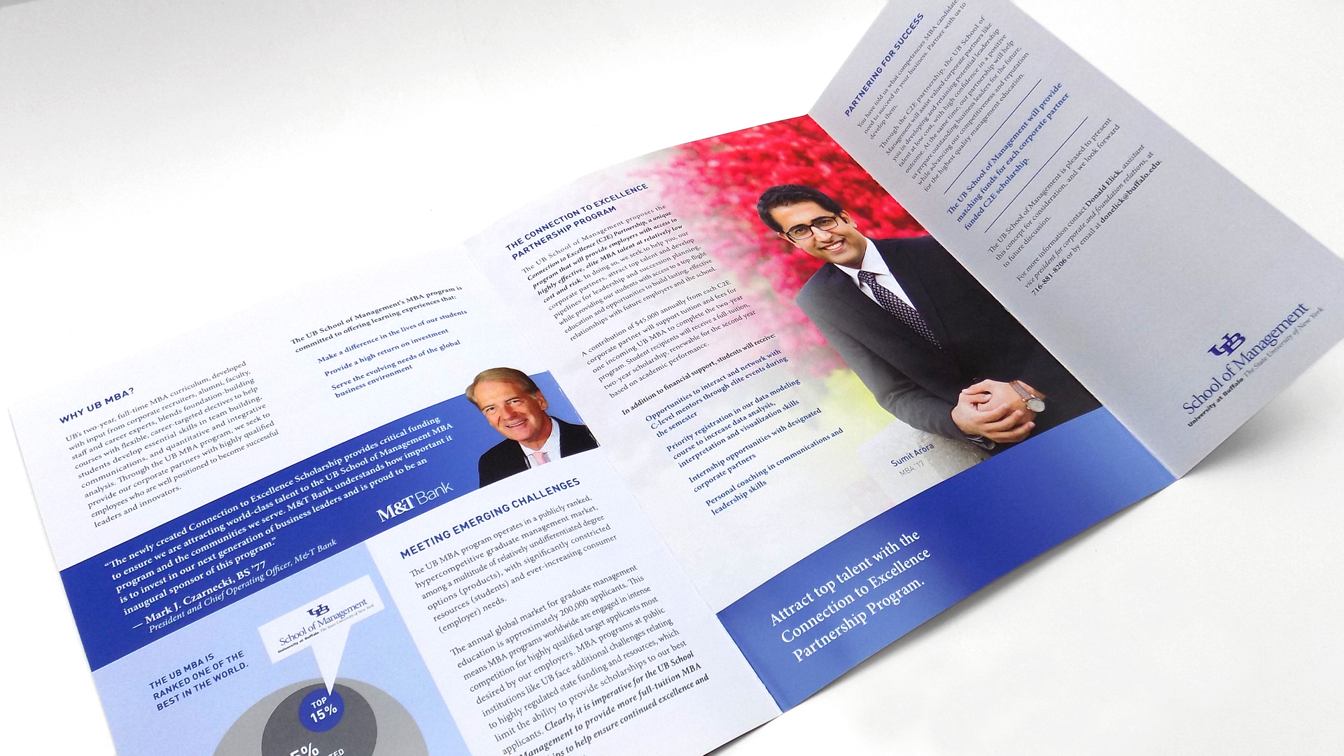 Printed marketing pieces for a university business program