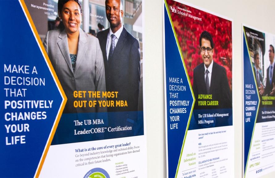Promotional poster design for a university business program