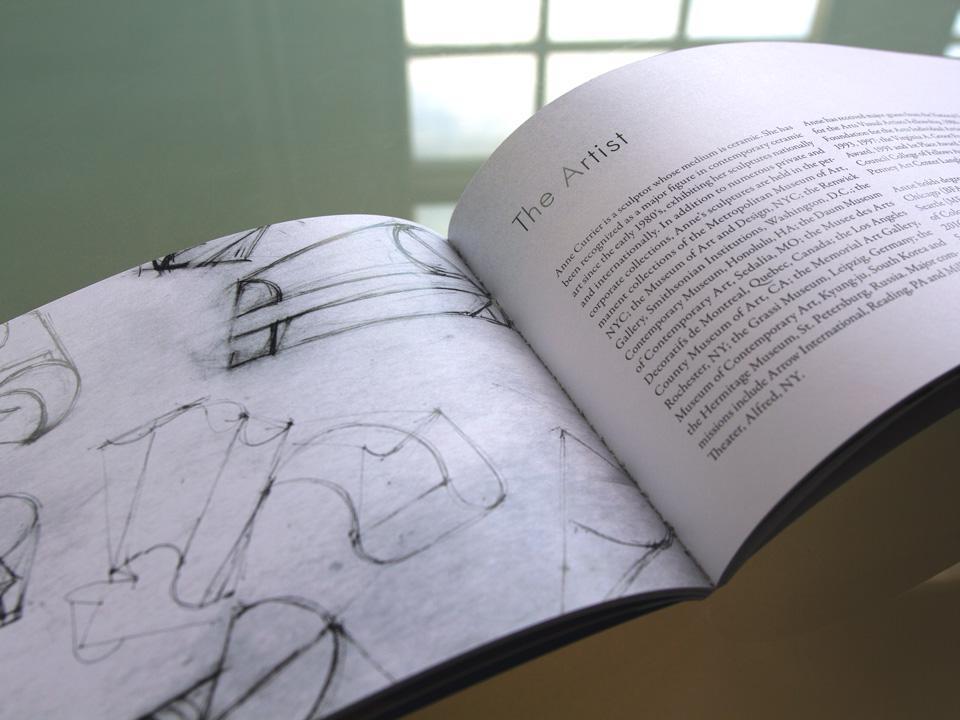 Artist book layout, publication design, artist statement, display