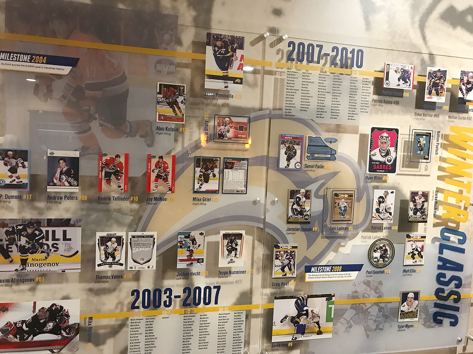 Buffalo Sabres, alumni, #alumniRoomProject, exhibit design, interior design, informational graphics, history, hockey, graphics, hockey cards, wall murals, otherWisz Creative, acrylic panels, rosters, hockey players, buffalo, NY