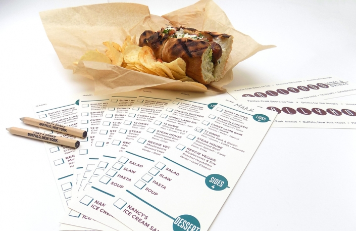 Menu design, restaurant marketing, branded pencils, logo design