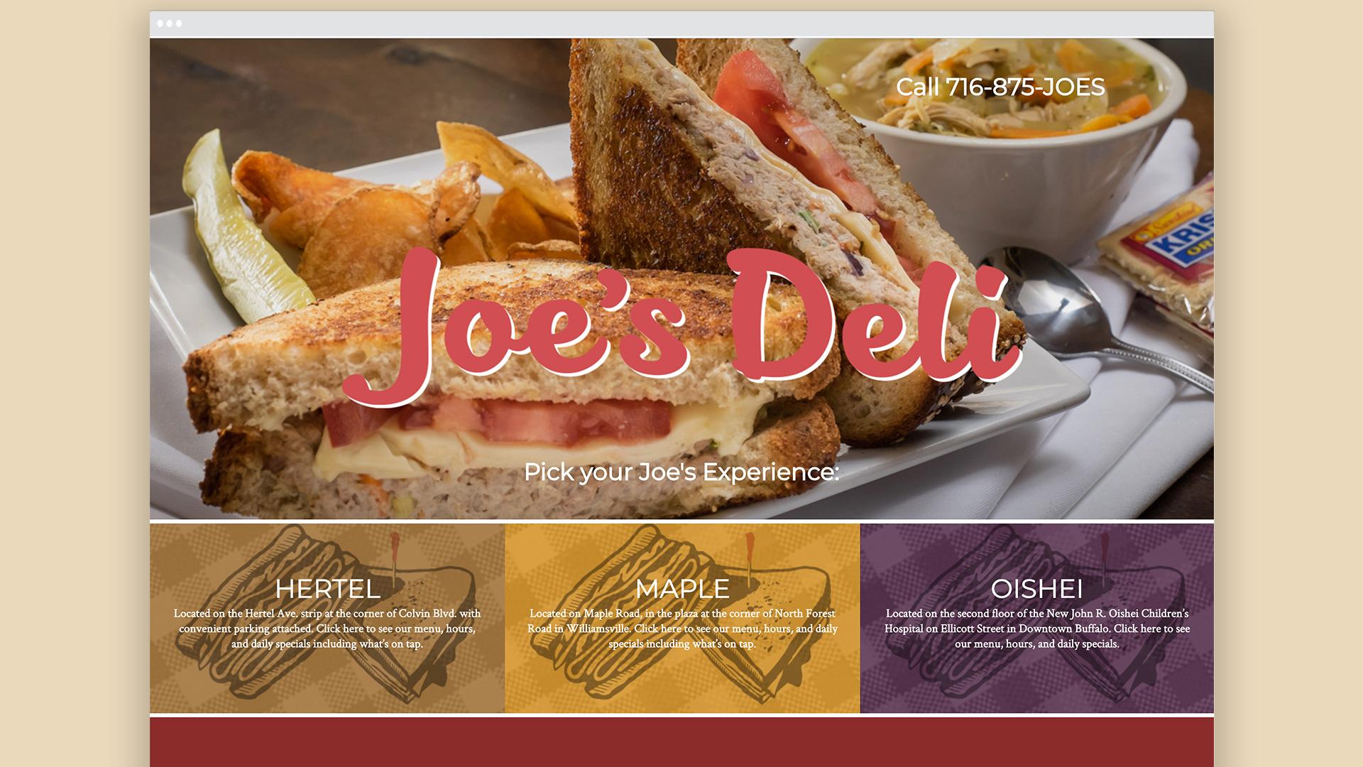 Web design, landing page, Deli, locations, branding