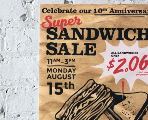 Restaurant Marketing, Event, poster design, sandwich sale