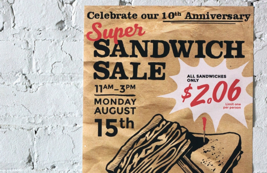 Restaurant Marketing, Event, poster design, sandwich sale