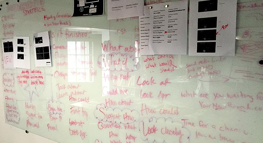 otherwisz, logo design, concepts, brainstorming, studio, whiteboard