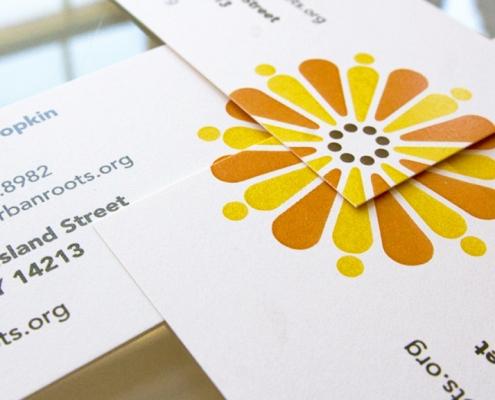 Business card design, co-op garden market, flower logo