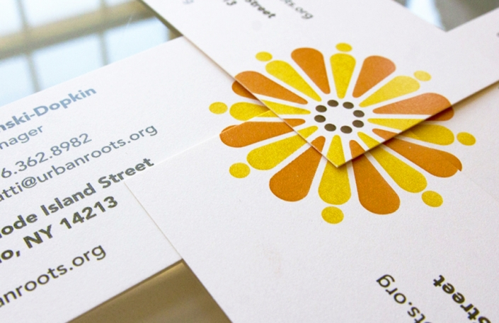 Business card design, co-op garden market, flower logo
