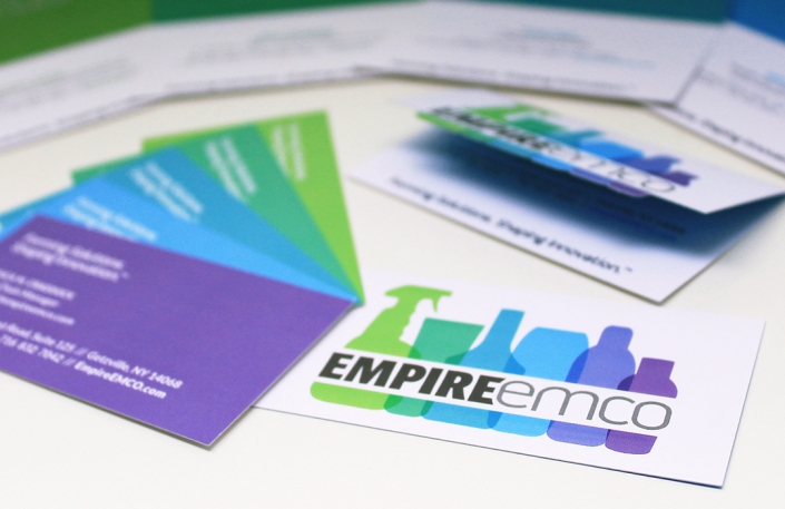 Business card design, green, blue, purple, branding