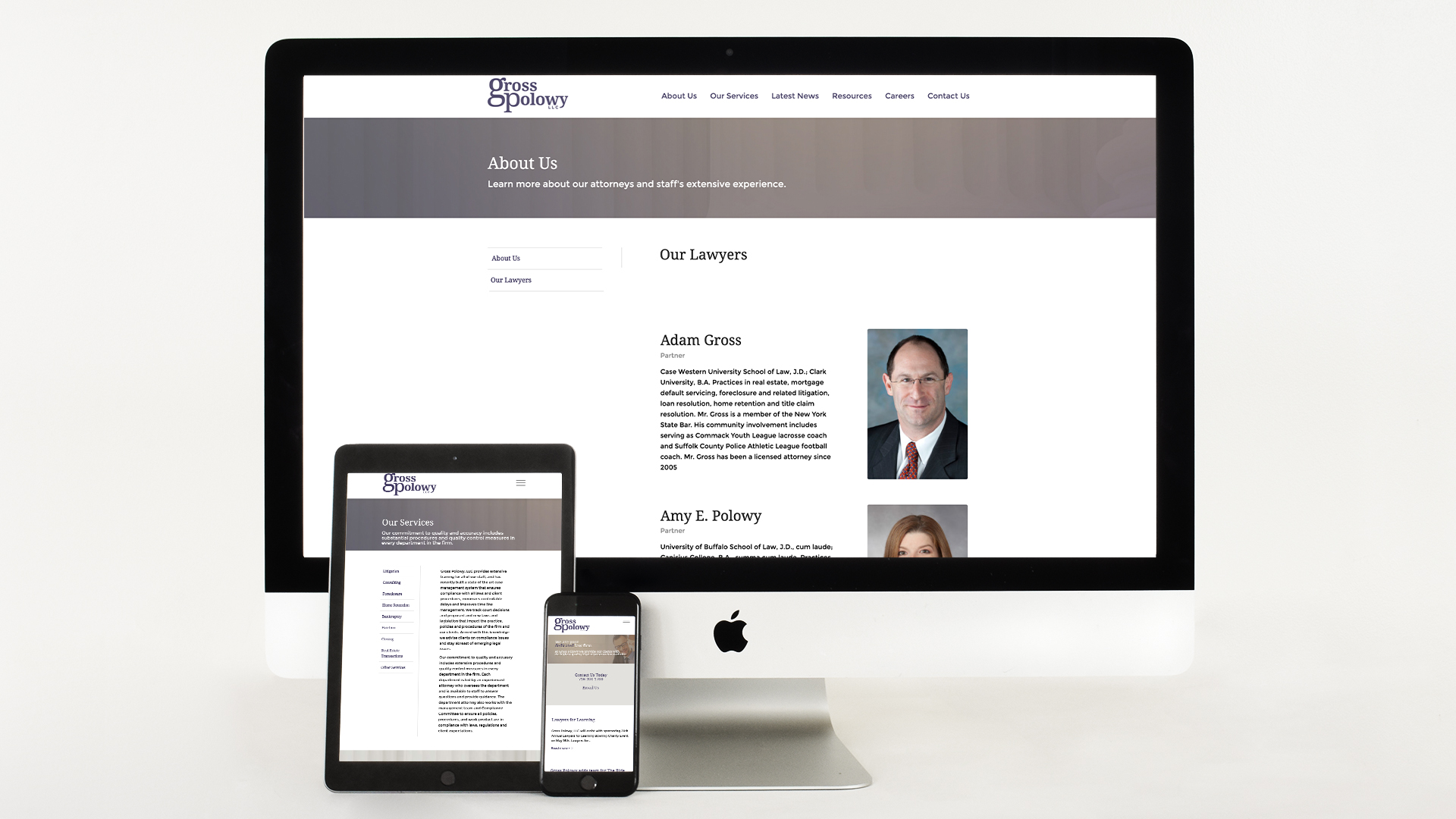 Website design, Mobile responsive, devices, Law Firm, branding