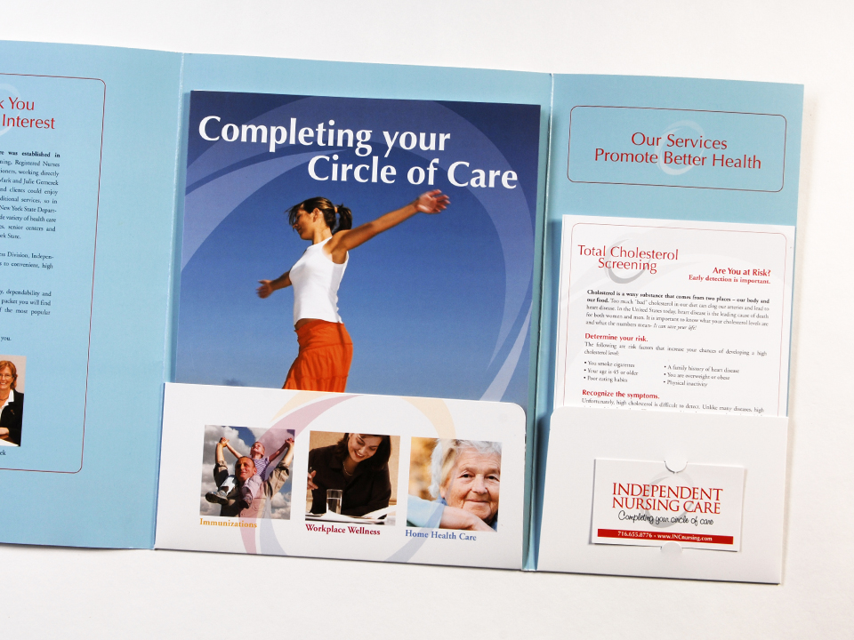 Pocket folder and linecards, promotional print materials