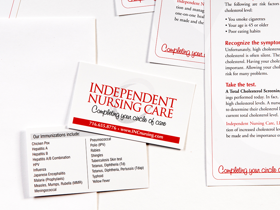 Business cards, service line cards, print promotional materials to market a health care company