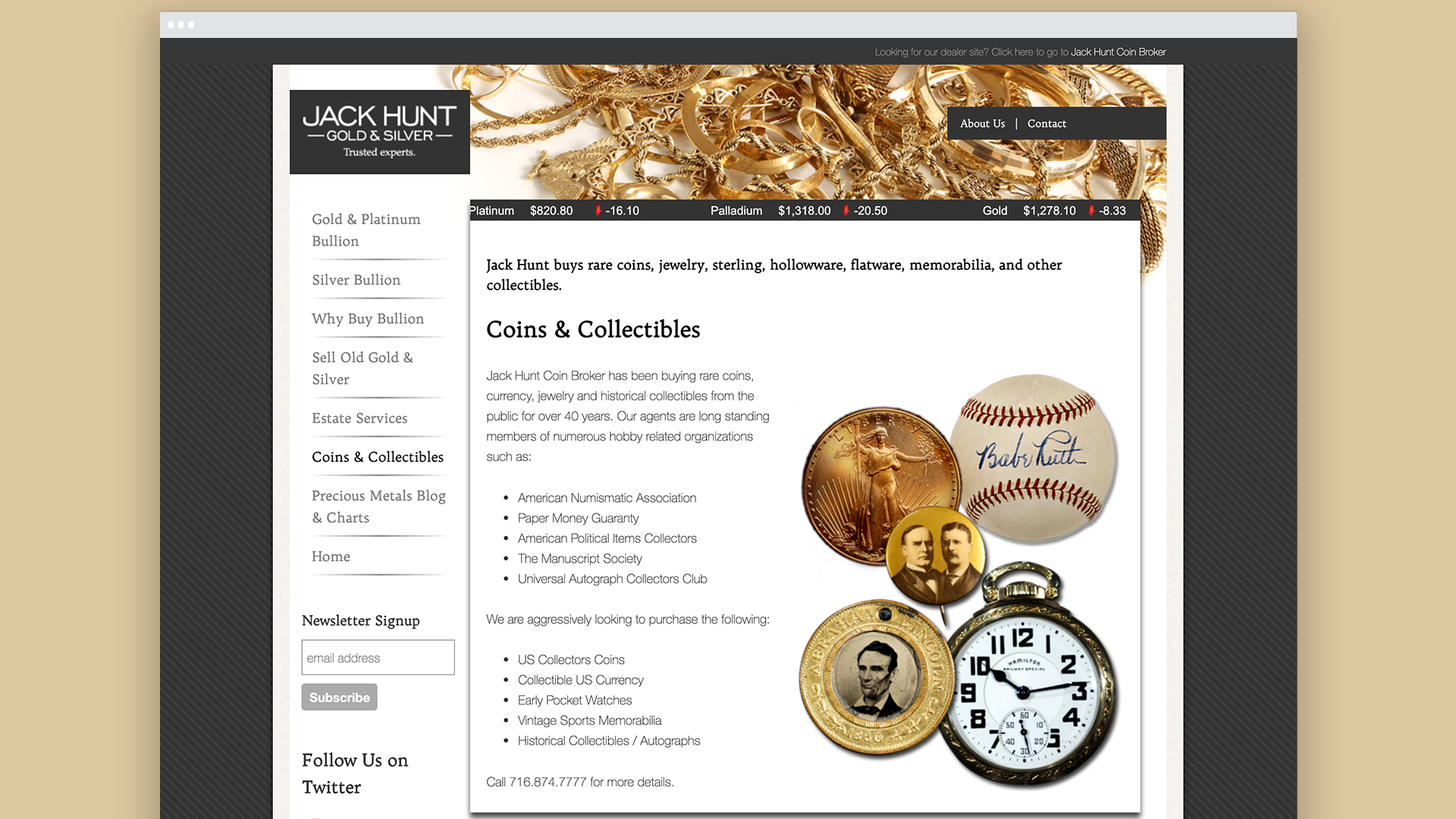 Website design, gold and silver, coins, collectables, visual identity