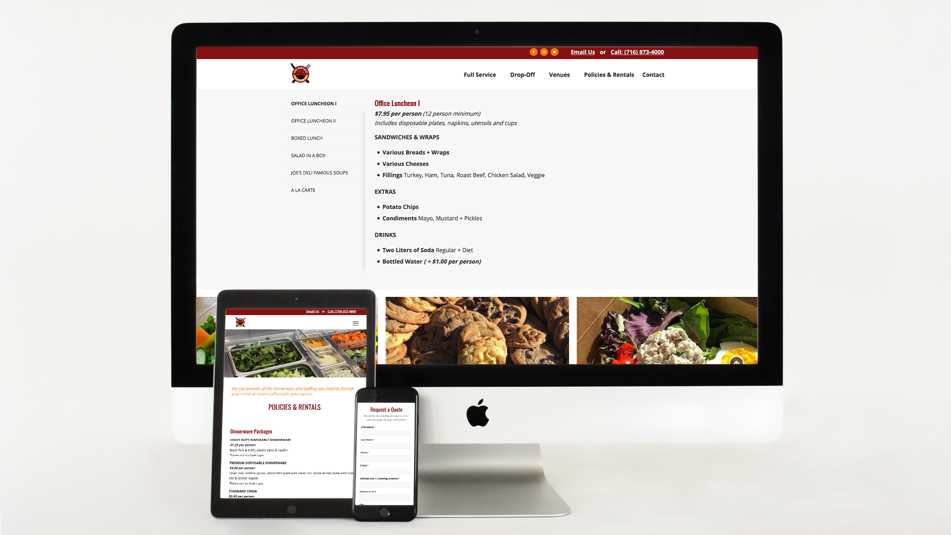 Website Design, Search engine optimization, Mobile Responsive, Catering, Graphic Design