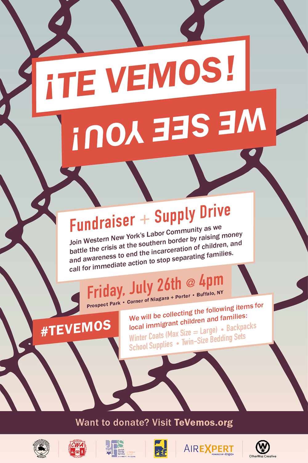 Full size poster for the ¡Te Vemos! Fundraiser and supply drive, asking to join the Western New York Labor Community at the event in Prospect Park