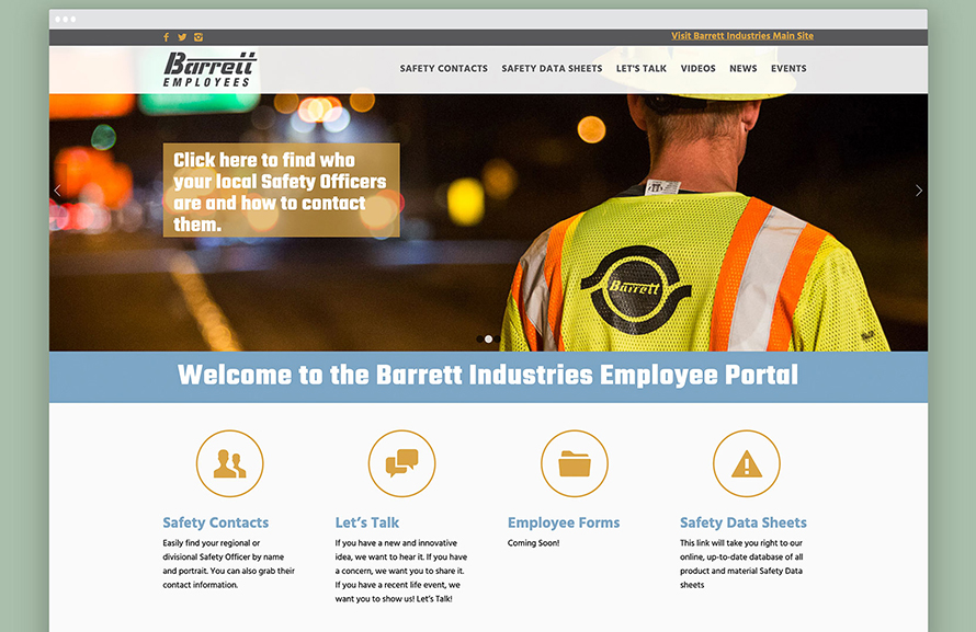 Web Design, Employee Portal, Barrett, Construction