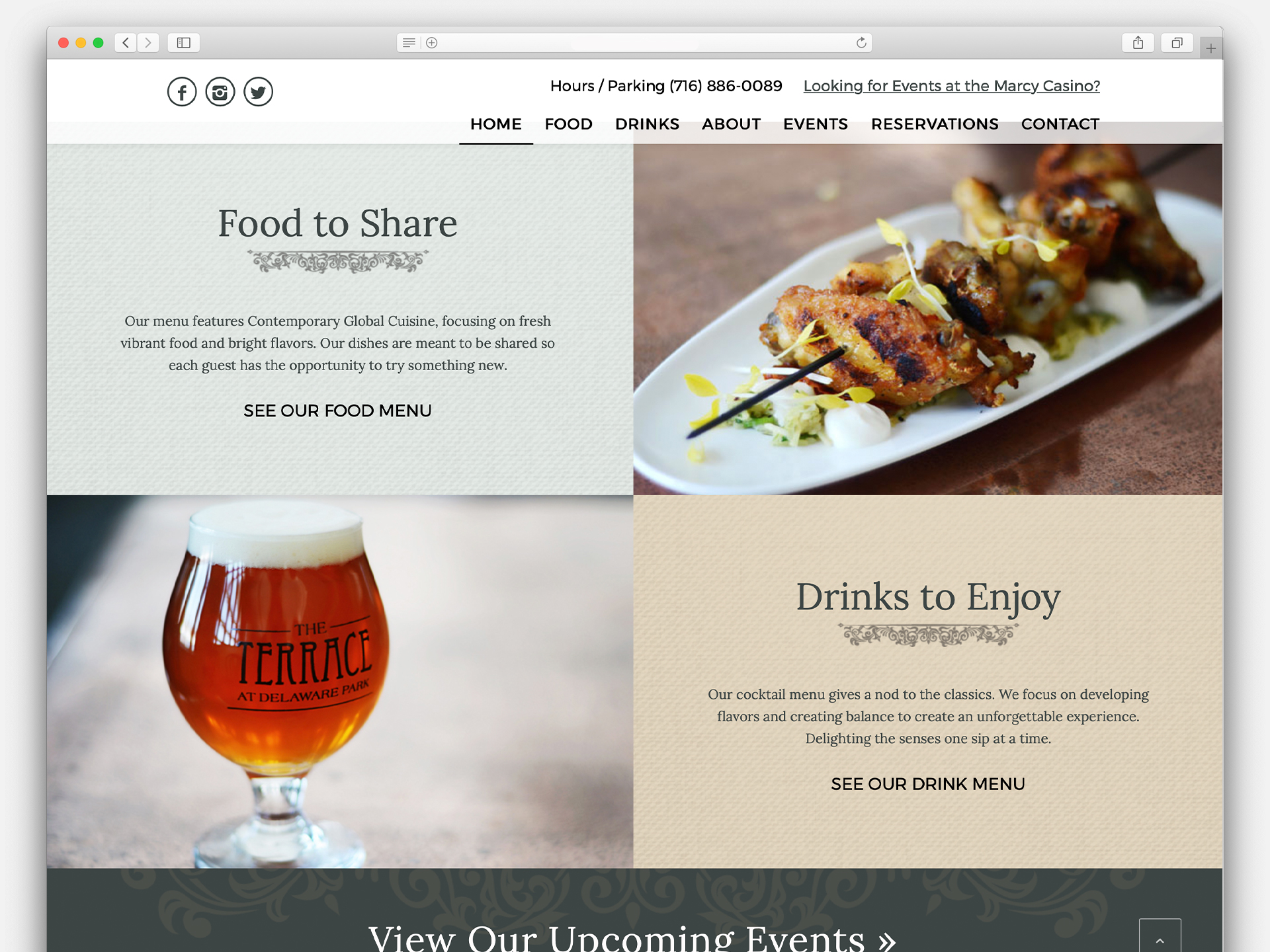 Restaurant Web Design, Brand package, Digital Menus, The Terrace