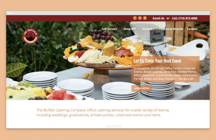 Web Design, Online Menu, Catering Services, Buffalo Catering Company