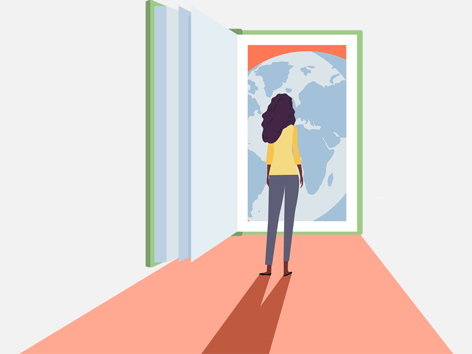 A colorful illustration for the Literacy New York Buffalo Niagara Website, showing a woman standing in front of a life-size open book that is opening to another world