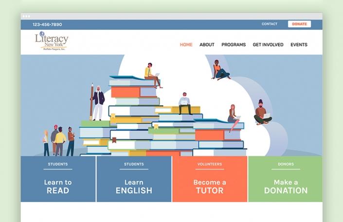 Website design, non-profit, books, OtherWisz Creative, Buffalo NY