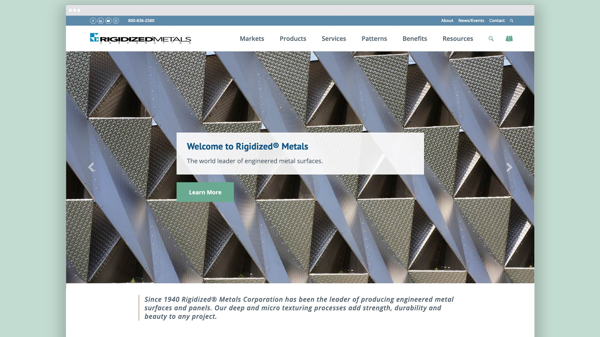 Rigidized Metals' new website design by OtherWisz Creative
