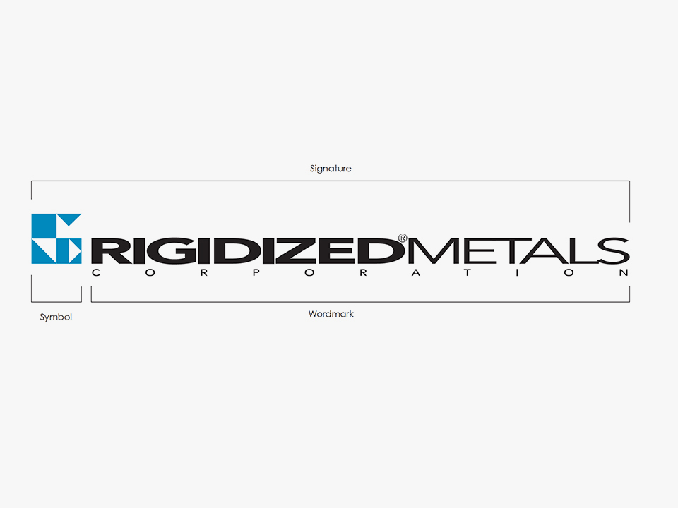 A breakdown of the Rigidized Metals logo from the OtherWisz brand audit.