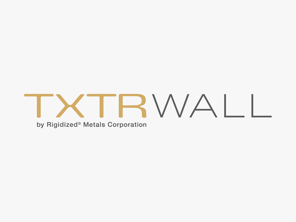 The TXTRWall logo for Rigidized's interior wall panel, OtherWisz created the brand identity and name for the product line