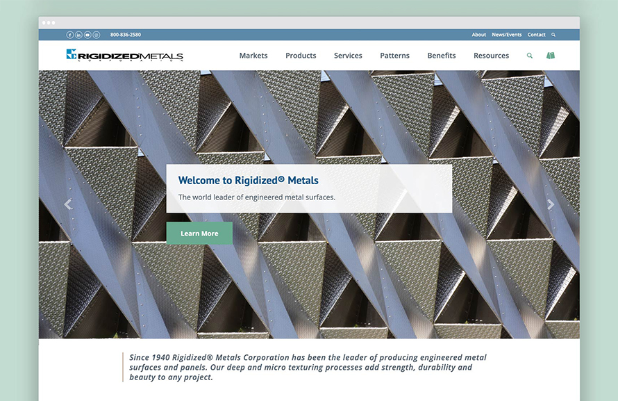 Rigidized Metals' new website design provides a streamlined customer experience