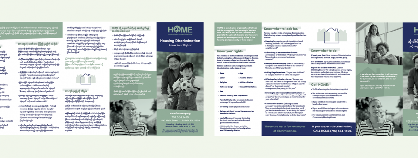 The home brochure flat graphic shows the english design and its translation on the opposite side