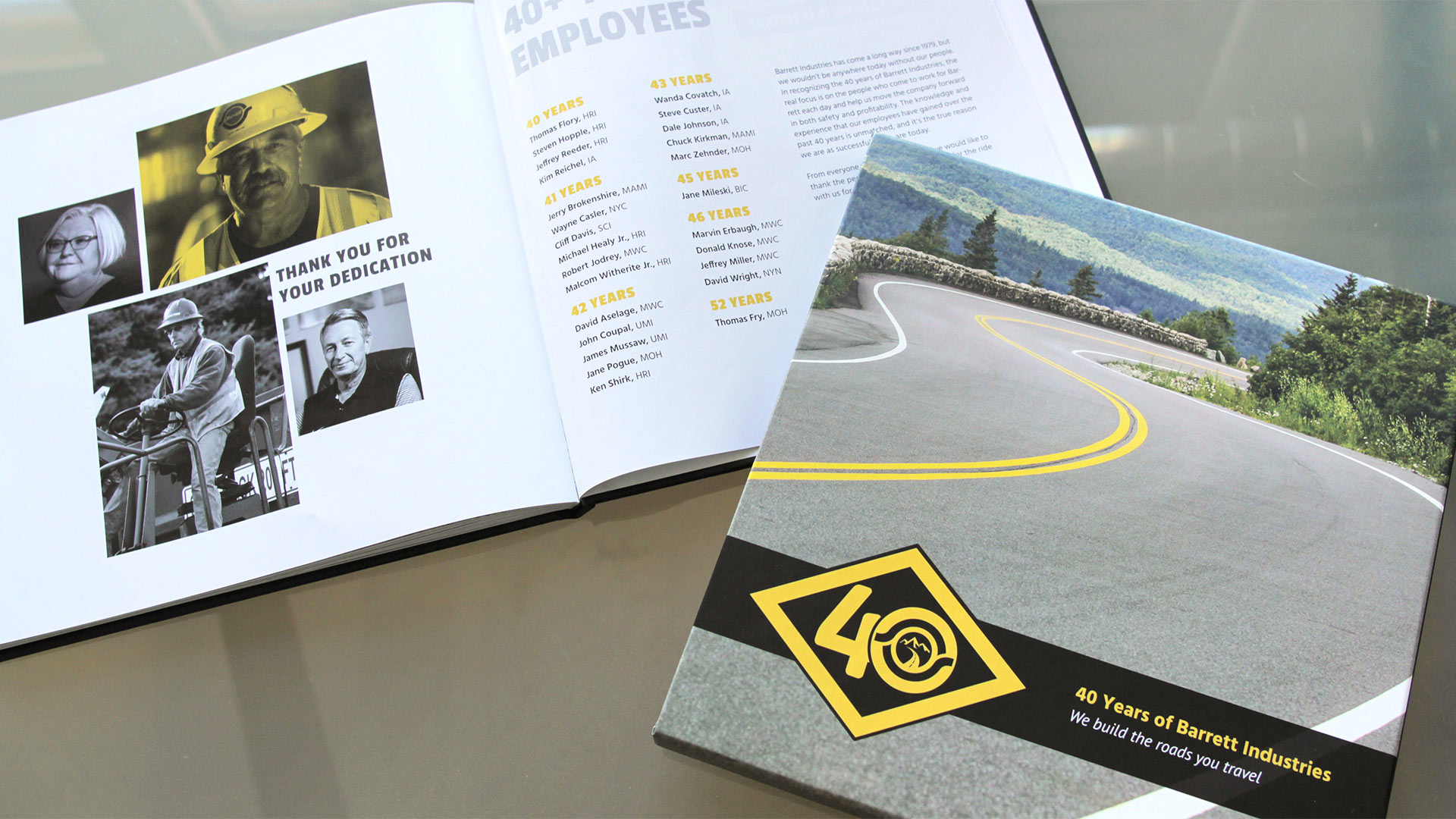 The Barrett Industries 40th Anniversary book, designed by OtherWisz, celebrates the long history of the company and its employees