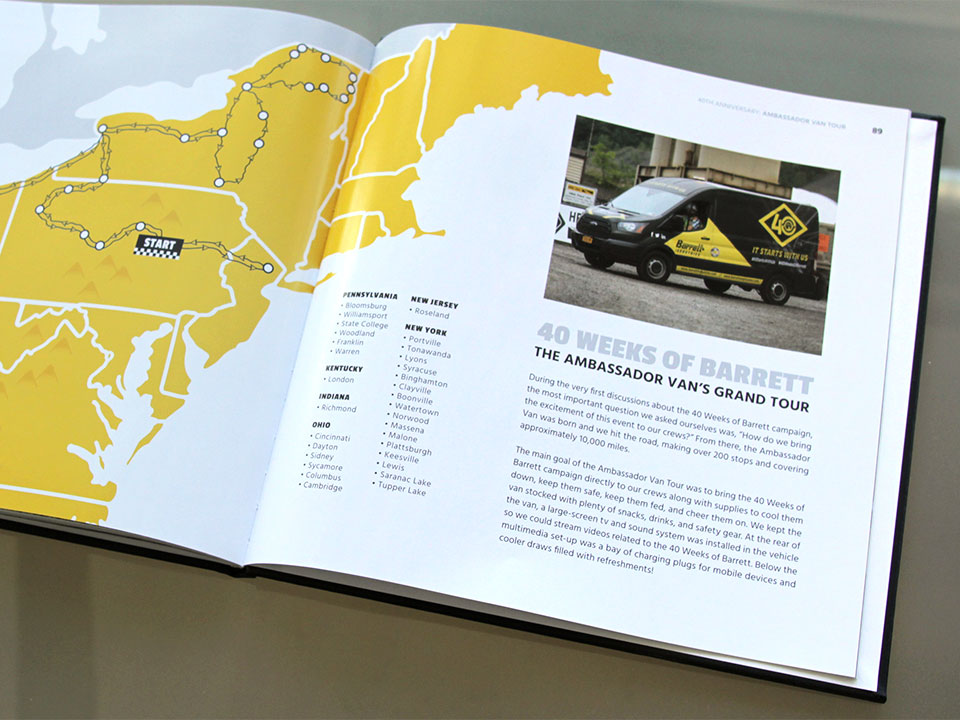 OtherWisz custom-designed a map for the Barrett Industries book to show the route of their Ambassador Van Tour around the region